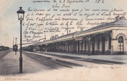 Mouscron Gare Intérieure Circulée En 1906 - Moeskroen