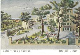 ARTIST DRAWN POSTCARD HOTEL VIENNA & TOURING - RICCIONE - ITALY - Italy