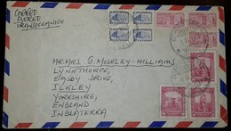 L)  1946 COLOMBIA, PRECOLOMBINO MONUMENT, 30C, 10C, PINK, COMMUNICATIONS PALACE, 1C, 5C BLUE, CRICULATED COVER FROM COLO - Colombia