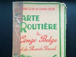 VIEILLE CARTE ROUTIÈRE DU CONGO BELGE ET DU RUANDA - URUNDI  CHEMINS DE FER LIGNES D AVIATION KATANGA COLONIE BELGIQUE - Cartes Routières