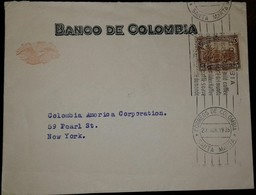 L) 1935 COLOMBIA, SOFT COFFE, PALM, BROWN, 5C, BANK OF COLOMBIA, CIRCULATED COVER FROM COLOMBIA TO NEW YORK - Colombia