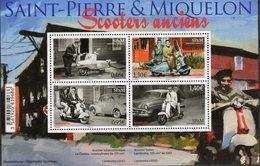 ST. PIERRE ET MIQUELON, SPM, 2018, MNH, OLD SCOOTERS, MOTORBIKES, CARS, SHEETLET - Motos