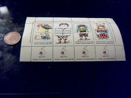 Vignette Postale  Israelienne Bloc De 4 Neuf Avec   Gomme World Stamp Exibition Tel Aviv 1998 - Vignettes De Fantaisie