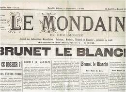 LE MONDAIN Du 12 Mars 1885 BRUNET Le Blanchi , Etat De La Prostitution - Journaux - Quotidiens