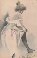 Unknown Artist Image 'Le Bain' #10, Beautiful Woman Ready For Bath, C1900s Vintage Postcard - Illustrators & Photographers