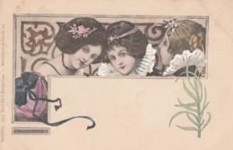 Unknown Artist Image Three Beautiful Women, Art Nouveau Theme Design, C1900s Vintage Postcard - Illustrators & Photographers