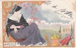 Lessieux Artist Signed Image Beautiful Woman 'Mireille', C1900s Vintage Postcard - Lessieux