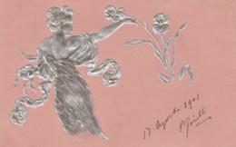 Unsigned Image Beautiful Woman, Fashion, Art Nouveau Theme In Relief, C1900s Vintage Postcard - Illustrators & Photographers