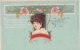 Unsigned Artist Image Beautiful Woman, 'Gruss Aus' Theme, C1890s/1900s Vintage Postcard - Illustrators & Photographers