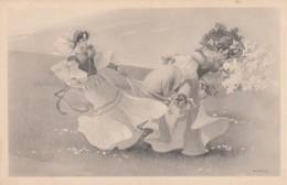 Havey(?) Signed Artist Image Beautiful Women Egg And Baby, C1900s/10s Vintage Postcard - Illustrators & Photographers