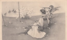 Havey(?) Signed Artist Image Beautiful Woman Cherub Shoots At Eggs, C1900s/10s Vintage Postcard - Other Illustrators