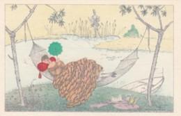 Mela Koehler Signed Artist Image Beautiful Woman With Umbrella In Hammock, C1910s Vintage Postcard - Koehler, Mela