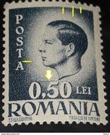 Errror Romania 1946 King Mihai I,  0.5Lei  WITHOUT  Line FRAME , AND LINE Up 0.50,   Mnh - Variétés Et Curiosités