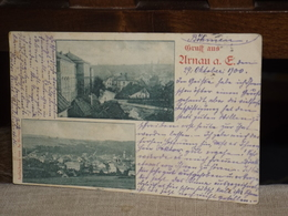POSTCARD GRUSS AUS ARNAU URNAU ? 1900 LITHO LITHIO AK CPA - Czech Republic