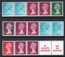 GREAT BRITAIN GB - 1971 1977 & 1980 MACHIN MULTI-VALUE HORIZONTAL COILS FINE MNH ** SG X841n, X843l, X845m - 1952-.... (Elizabeth II)