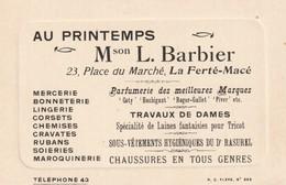 61- La Ferte Mace -  Au Printemps Mson- L.Barbier - 23, Place Du Maché - Tarjetas De Visita