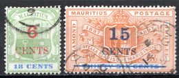 MAURICE - (Colonie Britannique) - 1897-1902 - N° 94 Et 97 - 6 C. S. 18 C. Vert Et Bleu Et 15 C. S. 36 C. Orange Et Bleu - Maurice (...-1967)