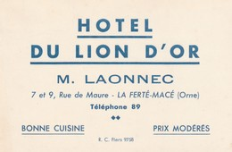 61- La Ferte Mace -  Hotel Du Lion D'or - Tarjetas De Visita
