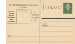 Nederland - 1952 - 5 Cent Juliana En-face - Spoorwegbriefkaart - Ganzsachen