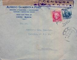 """1937 , MURCIA , SOBRE COMERCIAL CIRCULADO ENTRE CIEZA Y VALENCIA , LLEGADA AL DORSO , """" CENSURA / VALENCIA """" - 1931-50 Lettres"""