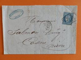 CERES DENTELE 60 SUR LETTRE DE LYON VAISE A COSNE DU 6 MARS 1872 (GROS CHIFFRE 2145 D) - 1849-1876: Periodo Classico