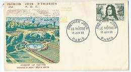 Enveloppe 1er Jour France FDC André Le Notre 1959 - FDC