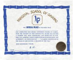 Imperial Palace Casino Biloxi, MS - Blank Imperial School Of Gaming Certificate - Casino Cards