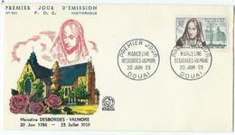 Enveloppe 1er Jour France FDC Marceline Desbordes Valmore1959 - 1960-1969