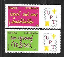 P175  Adhésifs Timbres De Messages N°3760B Et 3761B Personnalisés UPT N++ - Frankrijk