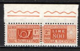 ITALIA - 1966 - PACCHI POSTALI - 800 LIRE -  FIL. STELLE - MNH - 1946-.. République
