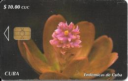 CARTE PUCE-CUBA-ETECSA--10USD -ENDEMICAS De CUBA-R°Glacé-UTILISE-TBE-RARE - Fleurs