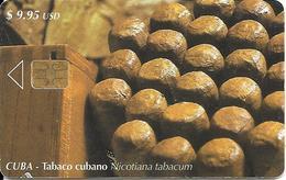 CARTE PUCE-CUBA-ETECSA--9,95USD -TABAC-CIGARES-R°Glacé-UTILISE-TBE-RARE - Cuba