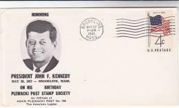 1963 Plewaski Brookline PRESIDENT KENNEDY BIRTHDAY EVENT COVER USA Stamps John F Kennedy - Kennedy (John F.)