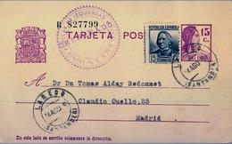 "1936 , CANTABRIA , ENTERO POSTAL ED. 69 , LAREDO - MADRID , CENSURA "" FRENTE POPULAR DE IZQUIERDAS / LAREDO  "" - Entiers Postaux"