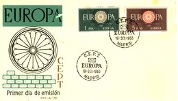 1960 - SPAGNA - EUROPA 2v. BUSTA FDC. - FDC