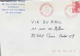LSC 1989 - Cachet Rouge CORBENAY (Haute Saône) - Marcofilie (Brieven)