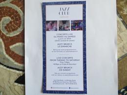 Carte Publicitaire  Hôtel Méridien Etoile JAZZ CLUB ETOILE Paris - Brunch Jazzy - Dos Vierge - Advertising