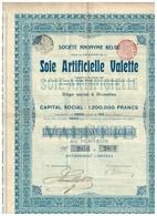 Titre Ancien - Société Anonyme Belge Soie Artificielle Valette - Titre De 1905 - Textiel