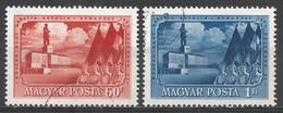 Hungary 1951. Scott #982-3 (U) Marchers Passing Stalin Monument ** Complet Set - Hongarije