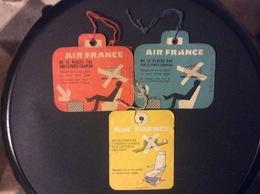 3  ETIQUETTES  A  BAGAGES  Air France  ANNÉE 1959 - Étiquettes à Bagages