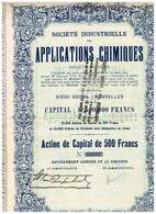 Titre Ancien - Société Industrielle Des Applications Chimiques - Titre De 1928 - Industrie