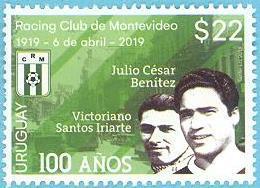Uruguay 2019 ** Centenario Del Equipo De Fútbol Racing Club De Montevideo. - Equipos Famosos