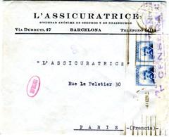 1937 CARTA Desde BARCELONA  Con Rara Marca CONTROLADO   ELA42 - 1931-Today: 2nd Rep - ... Juan Carlos I