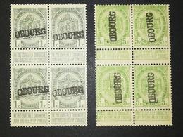 COB N ° 81 + 83 MH Surchargés Obourg - Gomme Altérée - 1893-1907 Armoiries