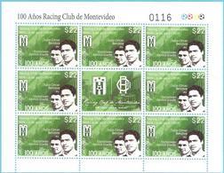 Uruguay 2019 ** Minipliego  8 Sellos Y Bandeleta Centenario Del Equipo De Fútbol Racing Club De Montevideo. - Equipos Famosos