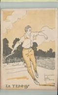 SPORTS- Sport  LE TENNIS  Illustrateur Jacques Robert -Edit  Comité Nationnal Des U. C. J. G. .AVRIL 001 2019  191 - Robert