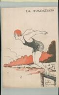 SPORTS- Sport  LA NATATION   Illustrateur Jacques Robert -Edit  Comité Nationnal Des U. C. J. G. .AVRIL 001 2019  193 - Robert
