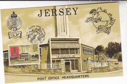 1979 Jersey UPU DAY EVENT COVER Card Illus POST OFFICE BUILDING  Postcard Stamps Heraldic Lion - Post