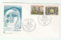1977 ITALY FDC Anti DRUG ADDICTION, DRUGS , POPPY FLOWER  Cover SYRINGE Health Medicine Stamps - 6. 1946-.. Republic