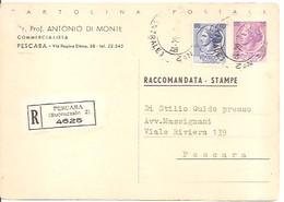 CARTOLINA POSTALE RACCOMANDATA - STAMPE   DEL 1964  VIAGGIATA - 6. 1946-.. Repubblica